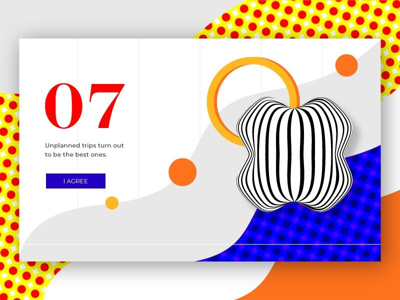 Graphic design trends 2020 example: Organic, abstract geometric illustration for a web page